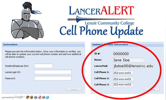 LancerALERT - Update Cell Phone Number